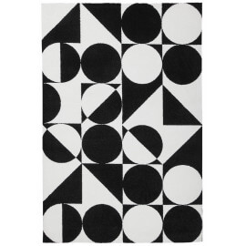 Tapis géométrique noir et blanc rectangle design Metrix