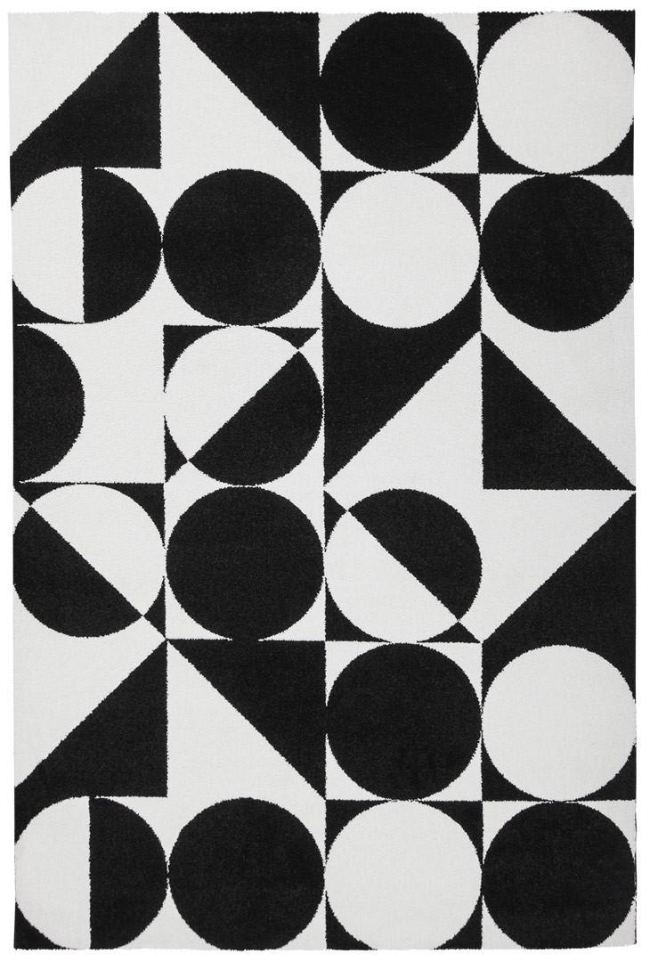 tapis g om trique noir et blanc rectangle design metrix. Black Bedroom Furniture Sets. Home Design Ideas