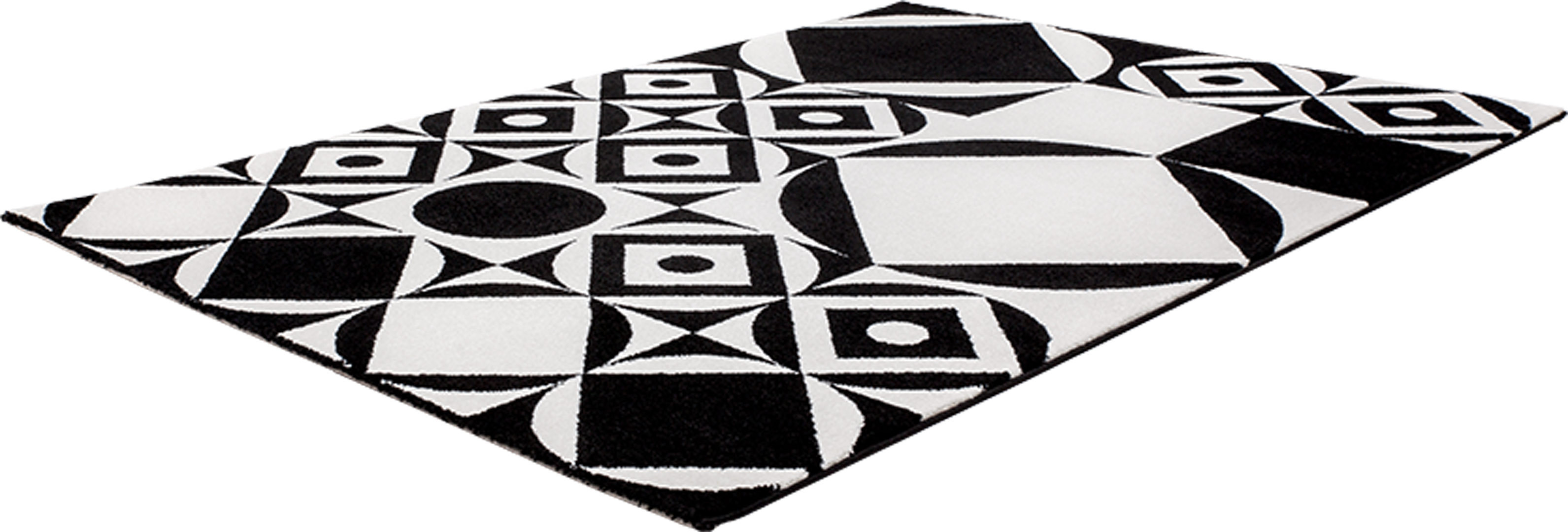 tapis design noir et blanc g om trique jersey. Black Bedroom Furniture Sets. Home Design Ideas