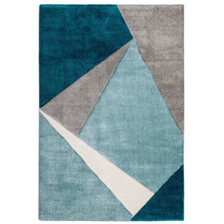 Tapis géométrique pour salon bleu océan moderne Viki