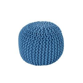 Pouf tricot en coton fait main bleu jeans Ulysse