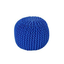 Pouf tricot en coton fait main bleu royal Ulysse