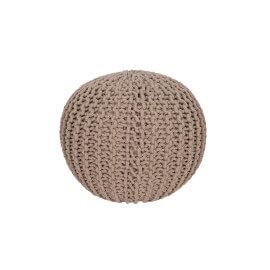 Pouf tricot en coton fait main taupe Ulysse