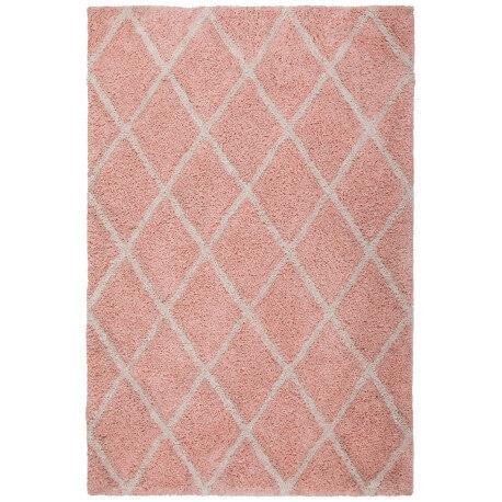 Tapis doux en polyester rose shaggy Solene