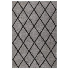 Tapis doux en polyester gris shaggy Solene