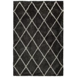 Tapis doux en polyester anthracite shaggy Solene
