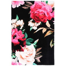 Tapis floral doux en polyester noir Mayas