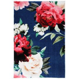 Tapis floral doux en polyester bleu royal Mayas