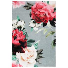 Tapis floral doux en polyester argenté Mayas