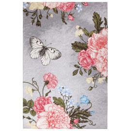 Tapis en polyester plat argenté floral Lotus