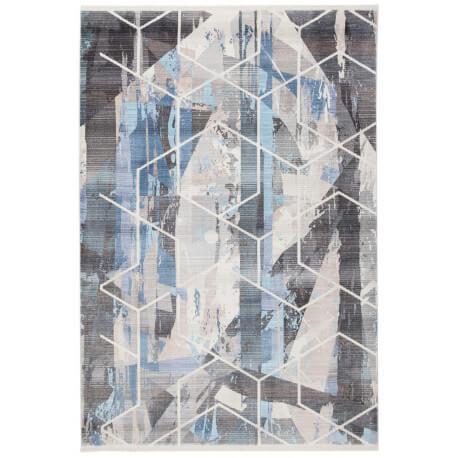 Tapis géométrique argenté en polyester Game