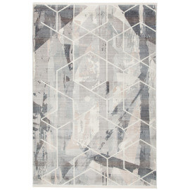 Tapis géométrique taupe en polyester Game