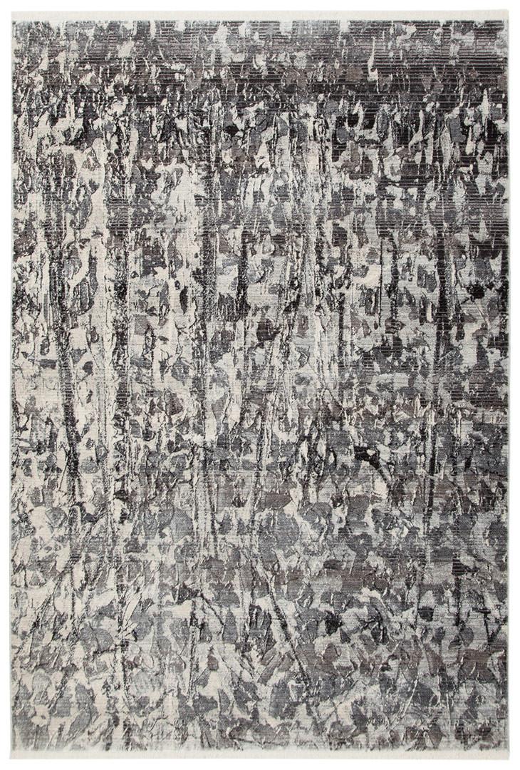 Tapis polyester rectangle argenté design Ben