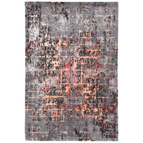 Tapis noué main laine et viscose rectangle rouge Luberon