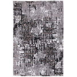 Tapis noué main laine et viscose rectangle argenté Luberon