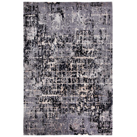 Tapis noué main laine et viscose rectangle taupe Luberon