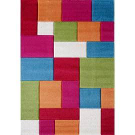Tapis multicolore à courtes mèches géométrique Sled