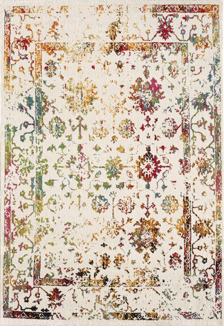 Tapis de salon blanc coloré vintage Sibérie