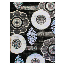 Tapis noir baroque pour salon rectangle Mégane