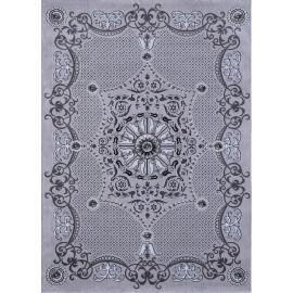 Tapis baroque brillant à courtes mèches gris Badi