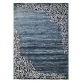 Tapis rayé baroque bleu brillant Volterra