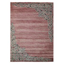 Tapis rayé baroque rose brillant Volterra