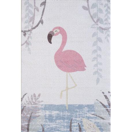 Tapis crème pour chambre enfant rectangle Flamingi