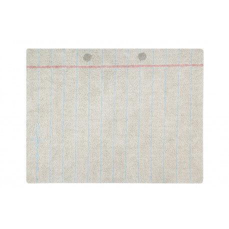 Tapis chambre enfant beige lavable en machine Notebook Lorena Canals