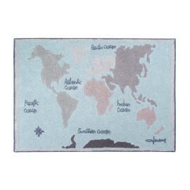 Tapis enfant coloré à courtes mèches Vintage Map Lorena Canals