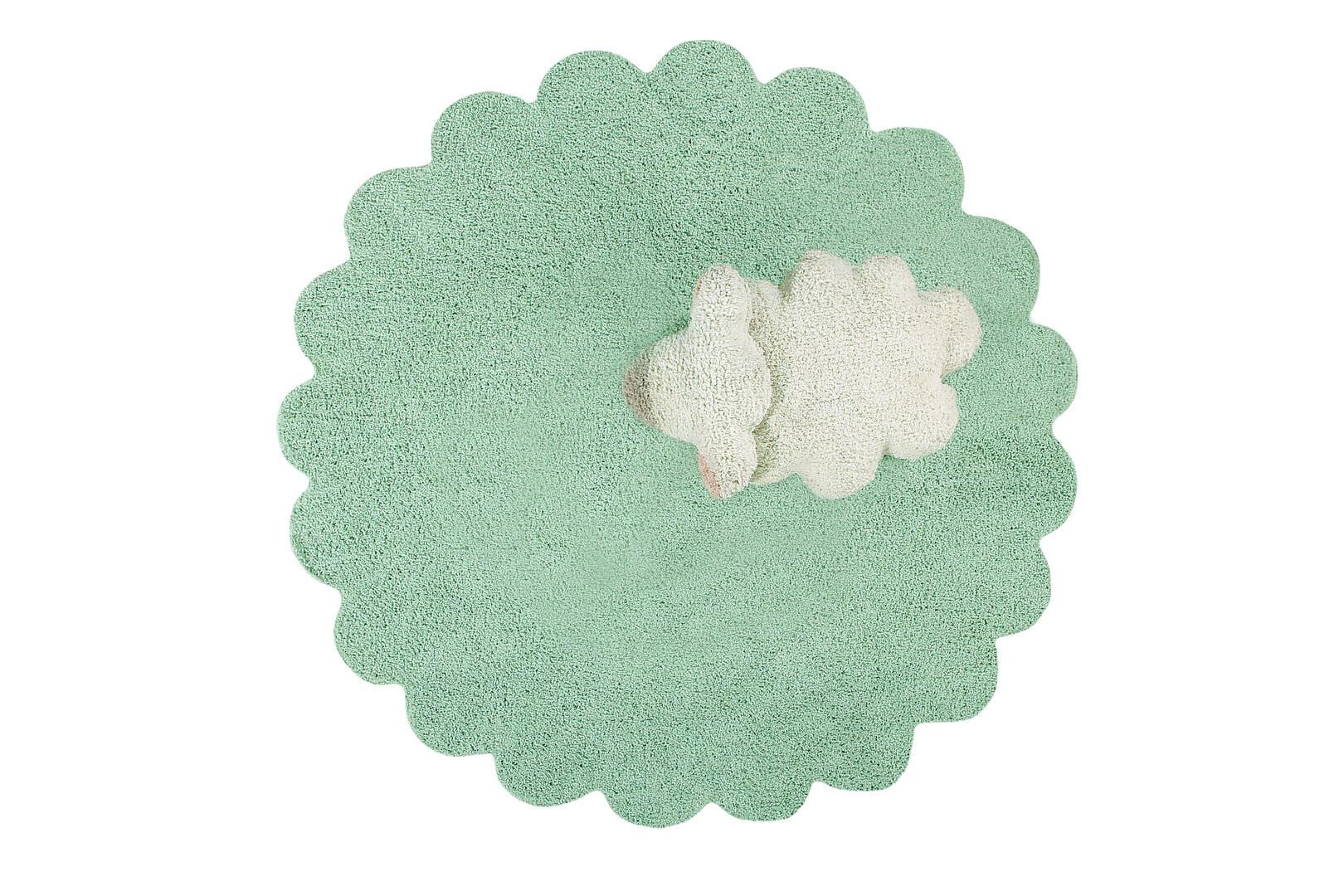 Tapis avec coussin pour enfant vert Puffy Sheep Lorena Canals