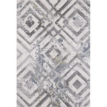 Tapis géométrique blanc rectangle Ivo