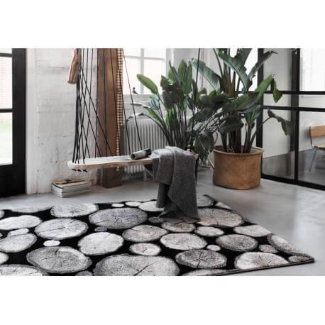 Tapis effet bois noir design Logs Wecon Home