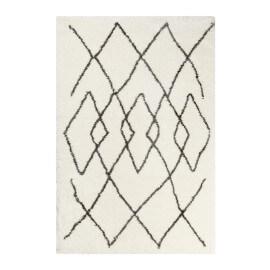 Tapis blanc et anthracite ethnique à longues mèches Afella Wecon Home