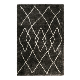 Tapis anthracite ethnique à longues mèches Afella Wecon Home