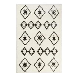 Tapis à longues mèches ethnique blanc et anthracite Ayachi Wecon Home