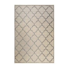 Tapis extérieur et intérieur plat argenté et beige Gleamy Outdoor Wecon Home