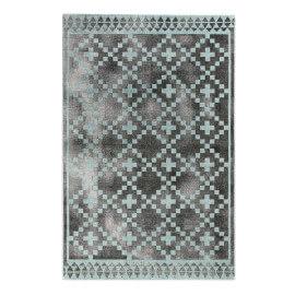 Tapis scandinave géométrique gris et turquoise Pleasure 2.0 Wecon Home