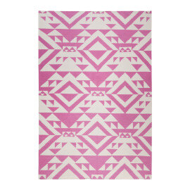 Tapis rose kilim pour salon Pink Mellow