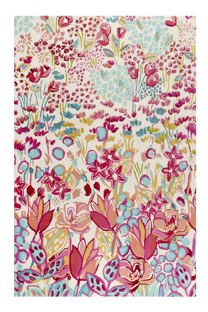 Tapis multicolore en laine floral Splash Bouquet