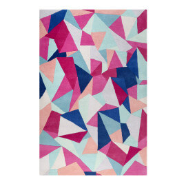 Tapis graphique multicolore en laine Triangulum