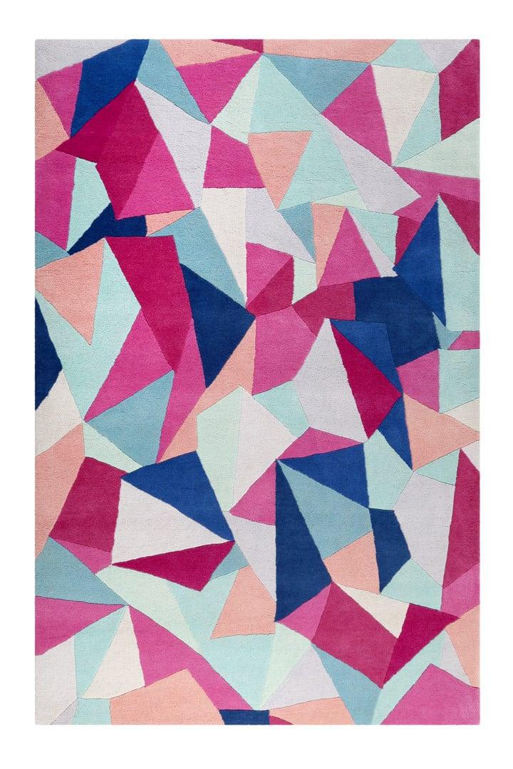 Tapis graphique multicolore en laine Triangulum