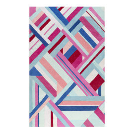 Tapis multicolore graphique en laine Linear