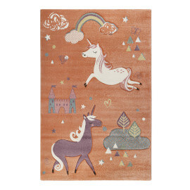 Tapis enfant orange pastel en polypropylène Sunny Unicorn