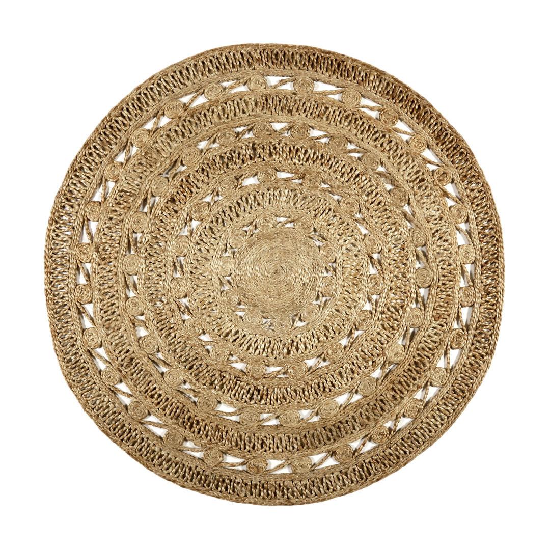 Tapis rond plat brun en jute Crochet Nature Esprit Home