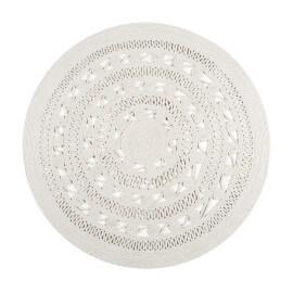 Tapis rond blanc uni plat Esprit Home Crochet Nature
