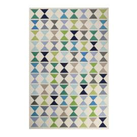 Tapis bleu géométrique en laine de N-Z Mahan Esprit Home