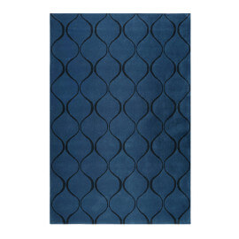 Tapis bleu en laine de N-Z rectangle géométrique Aramis Esprit Home