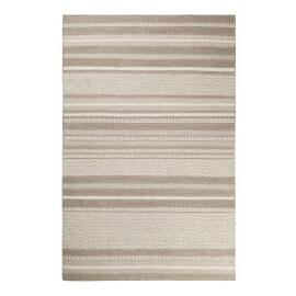 Tapis rayé sable et taupe pour salon plat Hudson Kelim Esprit Home