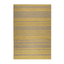 Tapis rayé jaune et taupe pour salon plat Hudson Kelim Esprit Home