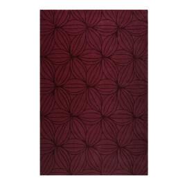 Tapis rouge floral en laine de N-Z design Oria Esprit Home